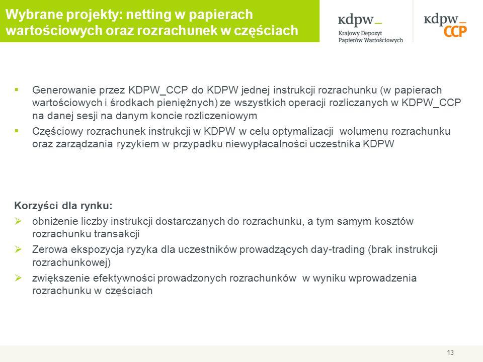 Wybrane projekty: netting w papierach wartościowych oraz rozrachunek w częściach  Generowanie przez KDPW_CCP do KDPW jednej instrukcji rozrachunku (w papierach wartościowych i środkach pieniężnych) ze wszystkich operacji rozliczanych w KDPW_CCP na danej sesji na danym koncie rozliczeniowym  Częściowy rozrachunek instrukcji w KDPW w celu optymalizacji wolumenu rozrachunku oraz zarządzania ryzykiem w przypadku niewypłacalności uczestnika KDPW Korzyści dla rynku:  obniżenie liczby instrukcji dostarczanych do rozrachunku, a tym samym kosztów rozrachunku transakcji  Zerowa ekspozycja ryzyka dla uczestników prowadzących day-trading (brak instrukcji rozrachunkowej)  zwiększenie efektywności prowadzonych rozrachunków w wyniku wprowadzenia rozrachunku w częściach 13
