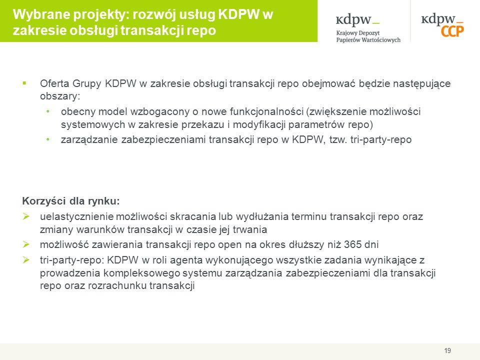 Wybrane projekty: rozwój usług KDPW w zakresie obsługi transakcji repo  Oferta Grupy KDPW w zakresie obsługi transakcji repo obejmować będzie następu