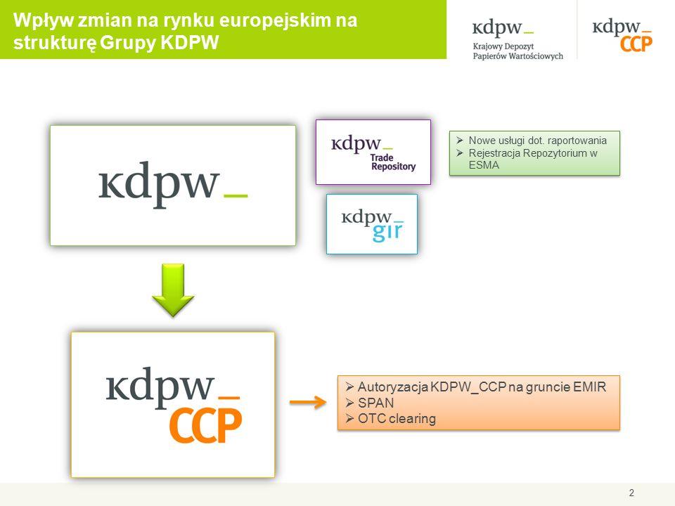 EMIR:  Obowiązek rozliczania wystandaryzowanych instrumentów pochodnych z rynku OTC przez izby typu CCP  Obowiązek rejestracji wszystkich klas kontraktów terminowych w repozytoriach transakcji  Obowiązek oferowania kont segregowanych do rozliczeń transakcji przez CCP w celu ochrony aktywów inwestora  Wyższe wymagania dotyczące funduszu rozliczeniowego i depozytów  Określenie zasad dostępu platform obrotu do CCP i CCP do platform obrotu  Trzyletnia karencja w zakresie obowiązku nawiązywania połączeń interoperacyjnych dla nowo autoryzowanych CCP  Wysokie standardy dotyczące porządku korporacyjnego w CCP (wymogi kapitałowe, zarządzanie ryzykiem, organy korporacyjne) 3 Wpływ nowych regulacji UE na rynek usług posttransakcyjnych (1)