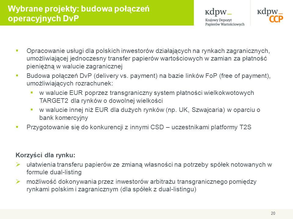 Wybrane projekty: budowa połączeń operacyjnych DvP  Opracowanie usługi dla polskich inwestorów działających na rynkach zagranicznych, umożliwiającej