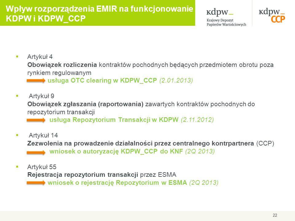 22 Wpływ rozporządzenia EMIR na funkcjonowanie KDPW i KDPW_CCP  Artykuł 4 Obowiązek rozliczenia kontraktów pochodnych będących przedmiotem obrotu poza rynkiem regulowanym usługa OTC clearing w KDPW_CCP (2.01.2013)  Artykuł 9 Obowiązek zgłaszania (raportowania) zawartych kontraktów pochodnych do repozytorium transakcji usługa Repozytorium Transakcji w KDPW (2.11.2012)  Artykuł 14 Zezwolenia na prowadzenie działalności przez centralnego kontrpartnera (CCP) wniosek o autoryzację KDPW_CCP do KNF (2Q 2013)  Artykuł 55 Rejestracja repozytorium transakcji przez ESMA wniosek o rejestrację Repozytorium w ESMA (2Q 2013)