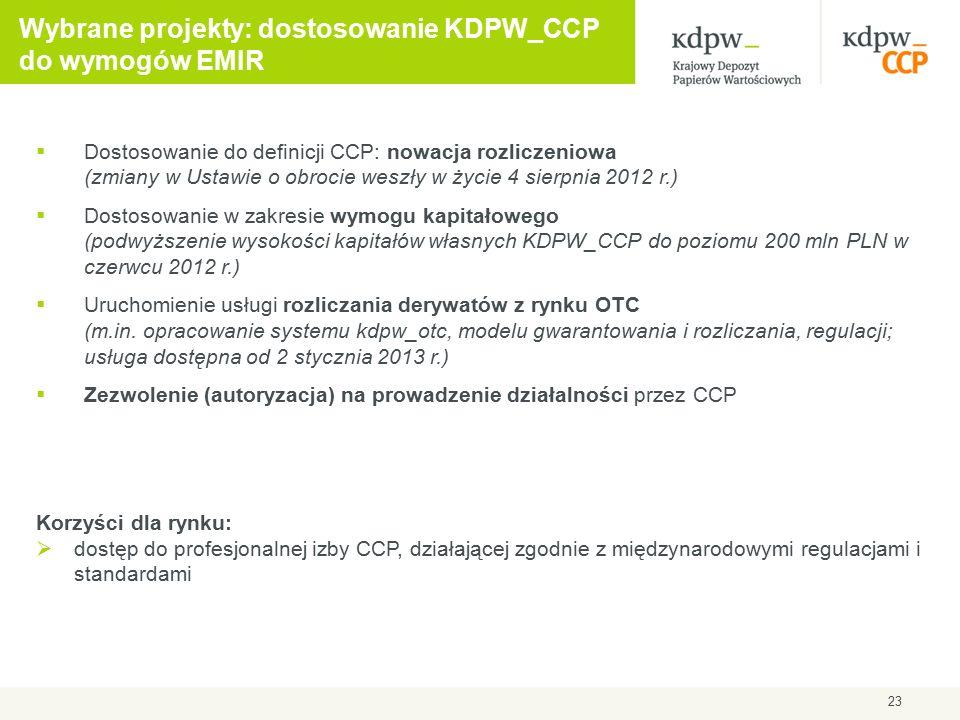 23 Wybrane projekty: dostosowanie KDPW_CCP do wymogów EMIR  Dostosowanie do definicji CCP: nowacja rozliczeniowa (zmiany w Ustawie o obrocie weszły w życie 4 sierpnia 2012 r.)  Dostosowanie w zakresie wymogu kapitałowego (podwyższenie wysokości kapitałów własnych KDPW_CCP do poziomu 200 mln PLN w czerwcu 2012 r.)  Uruchomienie usługi rozliczania derywatów z rynku OTC (m.in.