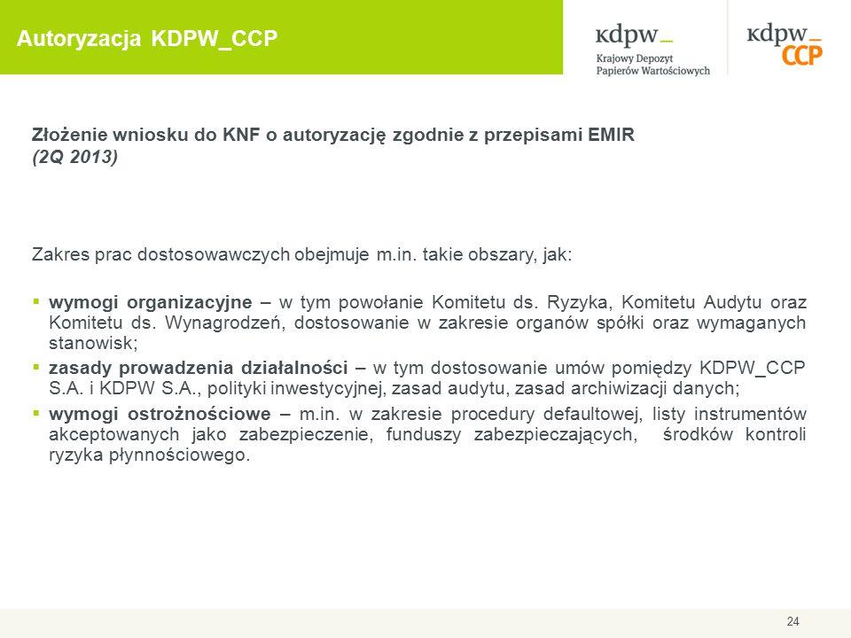 24 Autoryzacja KDPW_CCP Złożenie wniosku do KNF o autoryzację zgodnie z przepisami EMIR (2Q 2013) Zakres prac dostosowawczych obejmuje m.in. takie obs