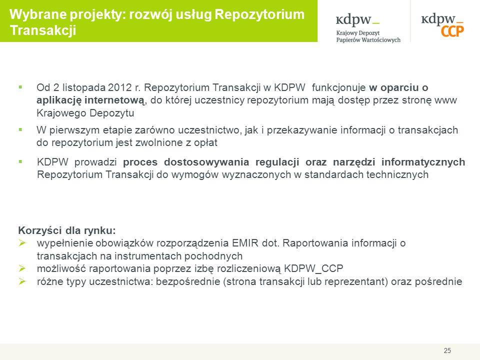 25 Wybrane projekty: rozwój usług Repozytorium Transakcji  Od 2 listopada 2012 r. Repozytorium Transakcji w KDPW funkcjonuje w oparciu o aplikację in