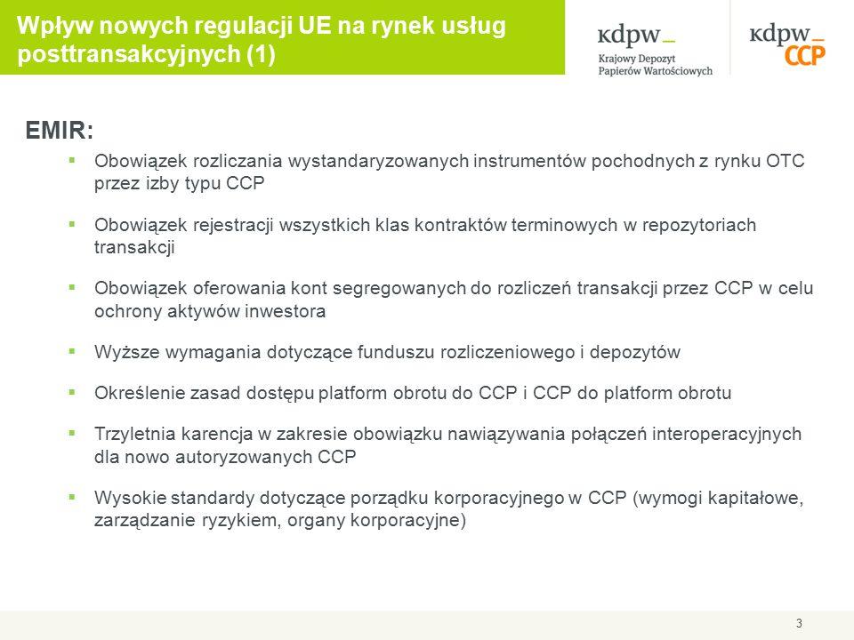 EMIR:  Obowiązek rozliczania wystandaryzowanych instrumentów pochodnych z rynku OTC przez izby typu CCP  Obowiązek rejestracji wszystkich klas kontr