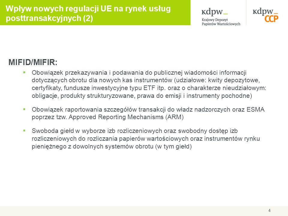 Wpływ nowych regulacji UE na rynek usług posttransakcyjnych (2) MIFID/MIFIR:  Obowiązek przekazywania i podawania do publicznej wiadomości informacji dotyczących obrotu dla nowych kas instrumentów (udziałowe: kwity depozytowe, certyfikaty, fundusze inwestycyjne typu ETF itp.