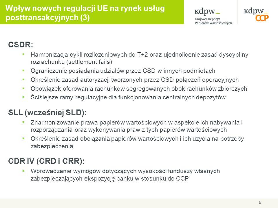 CSDR:  Harmonizacja cykli rozliczeniowych do T+2 oraz ujednolicenie zasad dyscypliny rozrachunku (settlement fails)  Ograniczenie posiadania udziałów przez CSD w innych podmiotach  Określenie zasad autoryzacji tworzonych przez CSD połączeń operacyjnych  Obowiązek oferowania rachunków segregowanych obok rachunków zbiorczych  Ściślejsze ramy regulacyjne dla funkcjonowania centralnych depozytów SLL (wcześniej SLD):  Zharmonizowanie prawa papierów wartościowych w aspekcie ich nabywania i rozporządzania oraz wykonywania praw z tych papierów wartościowych  Określenie zasad obciążania papierów wartościowych i ich użycia na potrzeby zabezpieczenia CDR IV (CRD i CRR):  Wprowadzenie wymogów dotyczących wysokości funduszy własnych zabezpieczających ekspozycję banku w stosunku do CCP 5 Wpływ nowych regulacji UE na rynek usług posttransakcyjnych (3)