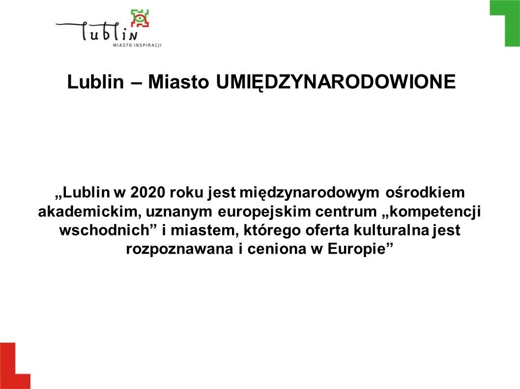 """Lublin – Miasto UMIĘDZYNARODOWIONE """"Lublin w 2020 roku jest międzynarodowym ośrodkiem akademickim, uznanym europejskim centrum """"kompetencji wschodnich"""