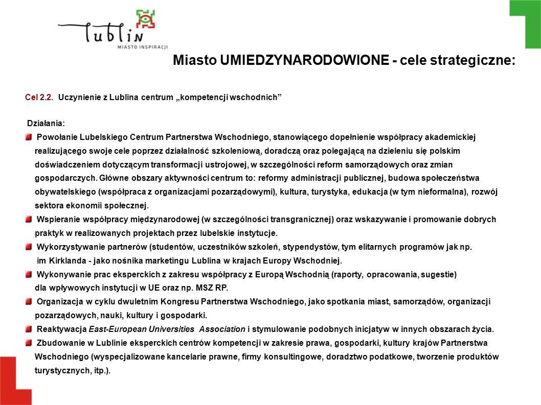 """Cel 2.2. Uczynienie z Lublina centrum """"kompetencji wschodnich"""" Działania: Powołanie Lubelskiego Centrum Partnerstwa Wschodniego, stanowiącego dopełnie"""