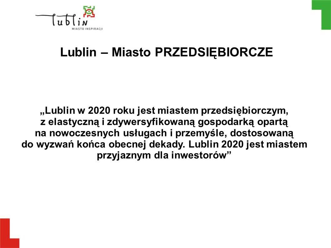 """Lublin – Miasto PRZEDSIĘBIORCZE """"Lublin w 2020 roku jest miastem przedsiębiorczym, z elastyczną i zdywersyfikowaną gospodarką opartą na nowoczesnych u"""