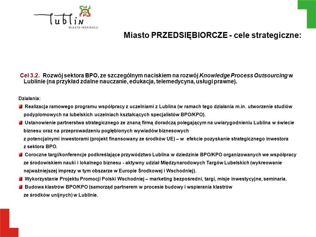 Cel 3.2. Rozwój sektora BPO, ze szczególnym naciskiem na rozwój Knowledge Process Outsourcing w Lublinie (na przykład zdalne nauczanie, edukacja, tele