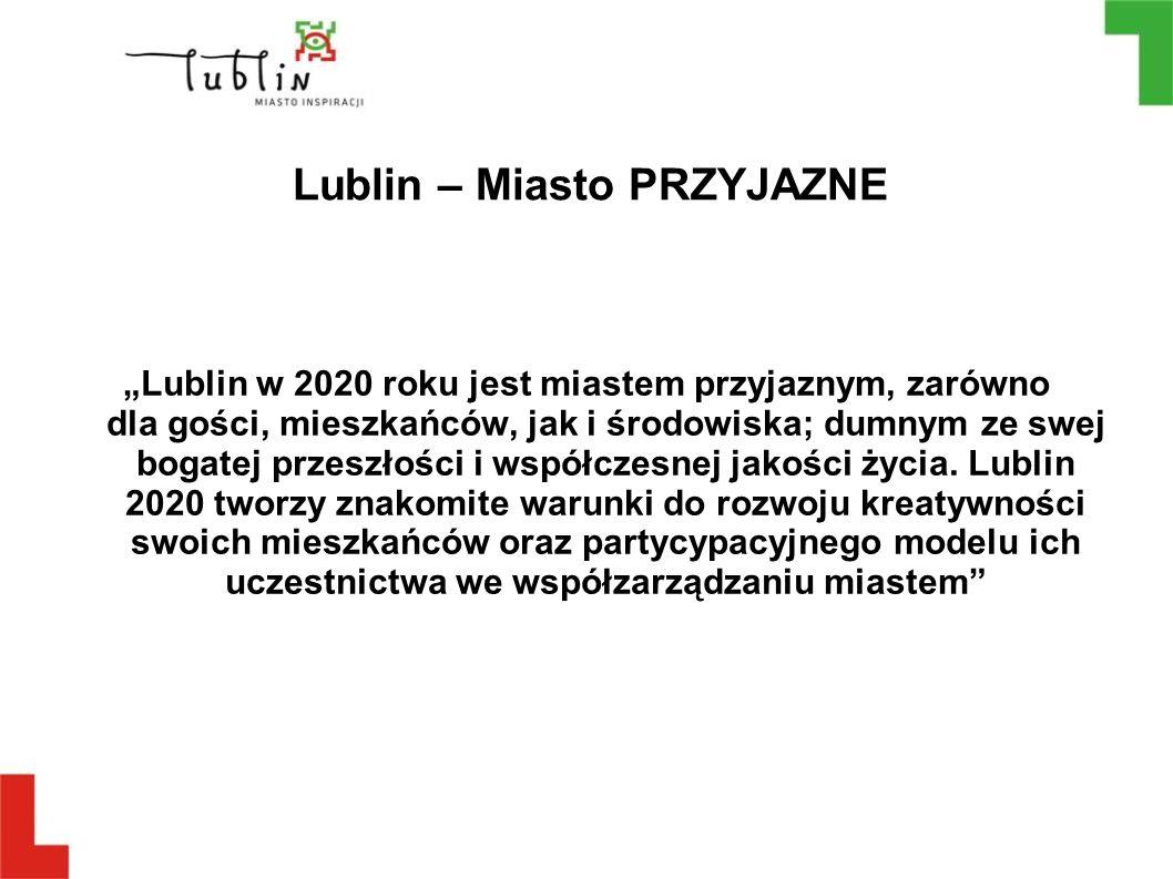 """Lublin – Miasto PRZYJAZNE """"Lublin w 2020 roku jest miastem przyjaznym, zarówno dla gości, mieszkańców, jak i środowiska; dumnym ze swej bogatej przesz"""