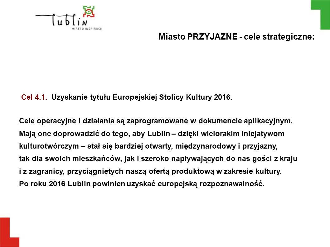 Cel 4.1. Uzyskanie tytułu Europejskiej Stolicy Kultury 2016. Cele operacyjne i działania są zaprogramowane w dokumencie aplikacyjnym. Mają one doprowa