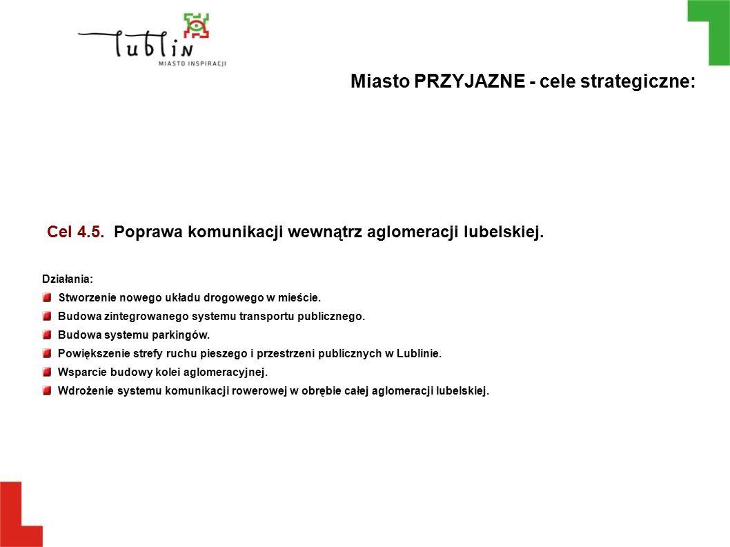 Cel 4.5. Poprawa komunikacji wewnątrz aglomeracji lubelskiej. Działania: Stworzenie nowego układu drogowego w mieście. Budowa zintegrowanego systemu t