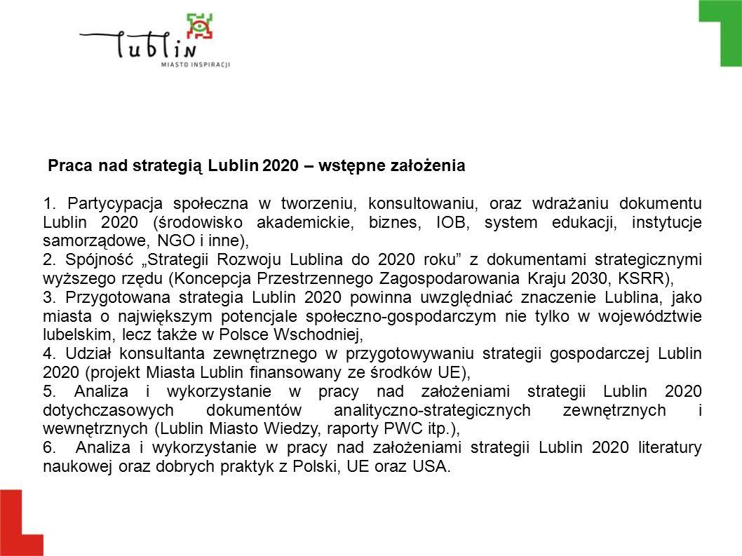 Praca nad strategią Lublin 2020 – wstępne założenia 1. Partycypacja społeczna w tworzeniu, konsultowaniu, oraz wdrażaniu dokumentu Lublin 2020 (środow