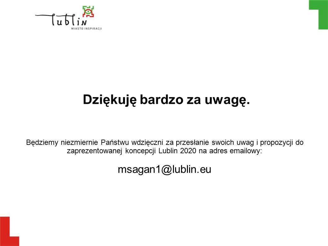 Dziękuję bardzo za uwagę. Będziemy niezmiernie Państwu wdzięczni za przesłanie swoich uwag i propozycji do zaprezentowanej koncepcji Lublin 2020 na ad