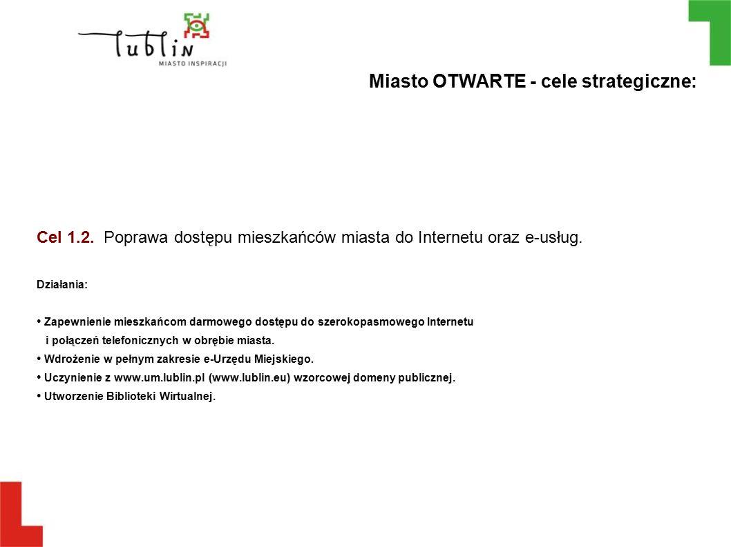 Cel 1.2. Poprawa dostępu mieszkańców miasta do Internetu oraz e-usług. Działania: Zapewnienie mieszkańcom darmowego dostępu do szerokopasmowego Intern
