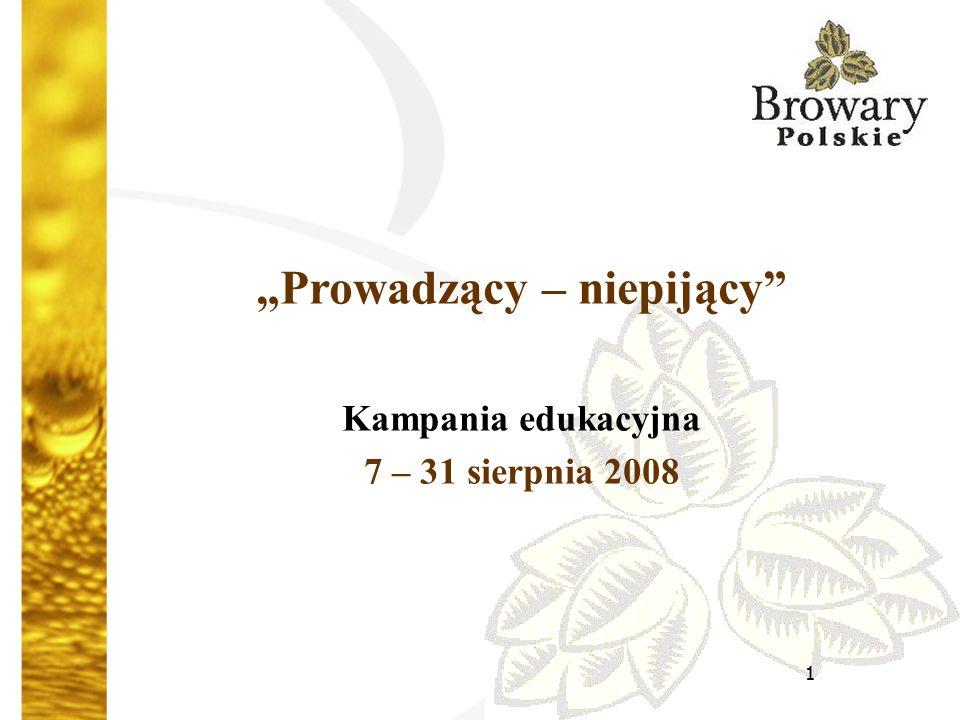 """1 """"Prowadzący – niepijący Kampania edukacyjna 7 – 31 sierpnia 2008"""