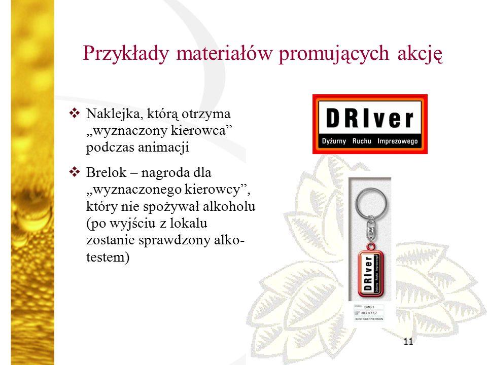 """11 Przykłady materiałów promujących akcję  Naklejka, którą otrzyma """"wyznaczony kierowca podczas animacji  Brelok – nagroda dla """"wyznaczonego kierowcy , który nie spożywał alkoholu (po wyjściu z lokalu zostanie sprawdzony alko- testem)"""