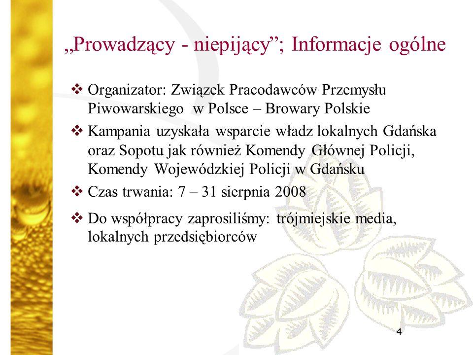"""5 """"Prowadzący – niepijący ; poprzednie edycje  Kampania była realizowana w :  Łodzi (listopad – grudzień 2006)  Poznaniu (marzec 2007)  Krakowie (kwiecień – maj 2007)  Warszawie (grudzień 2007)  Lublinie (kwiecień – maj 2008)  We wszystkich miastach została bardzo dobrze przyjęta zarówno przez właścicieli lokali, jak i bawiących się ludzi  We wszystkich miastach uzyskaliśmy wsparcie lokalnych władz miast, a także przychylność policji i mediów"""