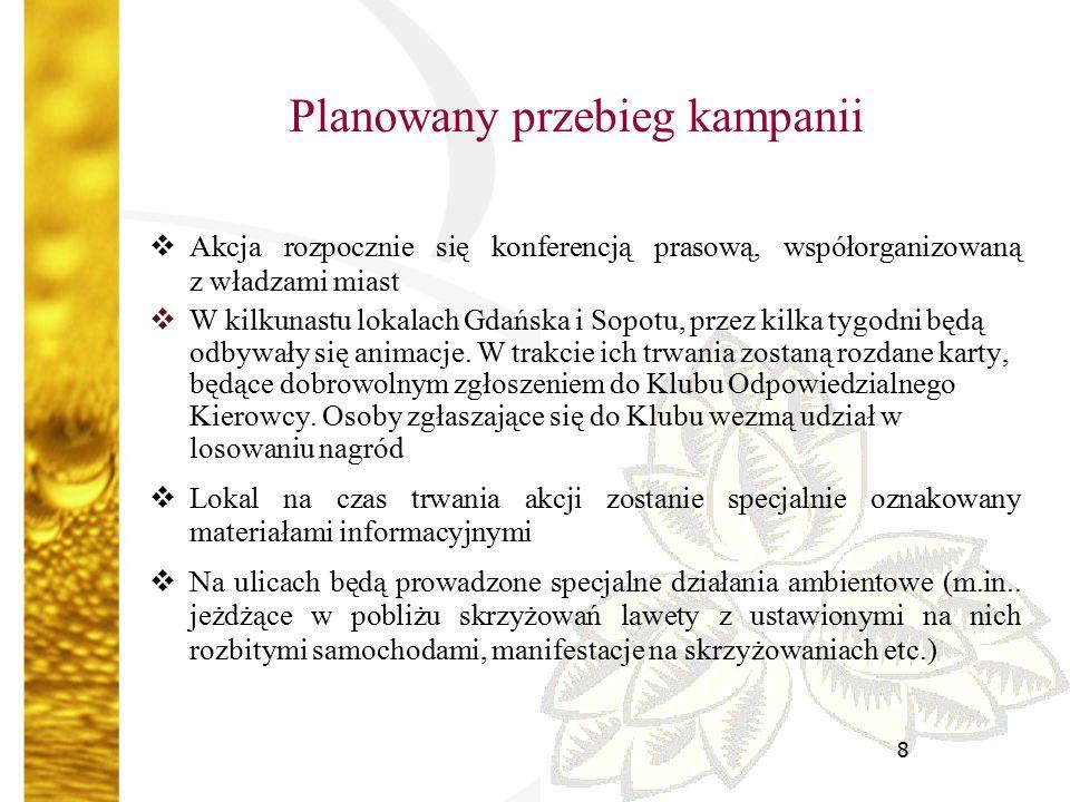 8 Planowany przebieg kampanii  Akcja rozpocznie się konferencją prasową, współorganizowaną z władzami miast  W kilkunastu lokalach Gdańska i Sopotu, przez kilka tygodni będą odbywały się animacje.