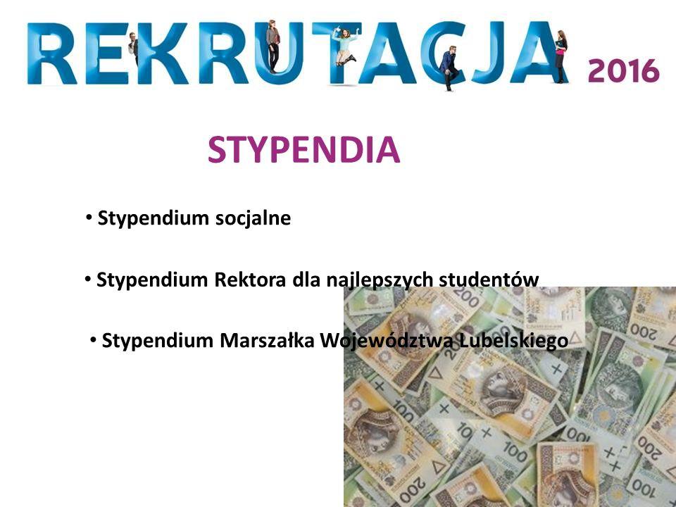 STYPENDIA Stypendium Rektora dla najlepszych studentów Stypendium socjalne Stypendium Marszałka Województwa Lubelskiego
