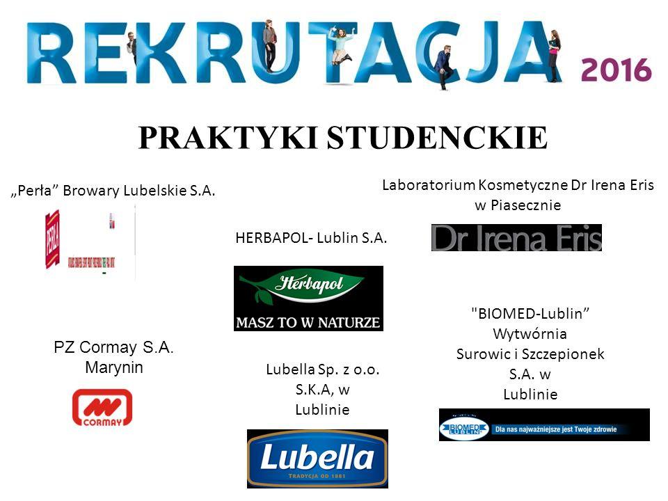 """""""Perła"""" Browary Lubelskie S.A. HERBAPOL- Lublin S.A. Laboratorium Kosmetyczne Dr Irena Eris w Piasecznie PZ Cormay S.A. Marynin"""