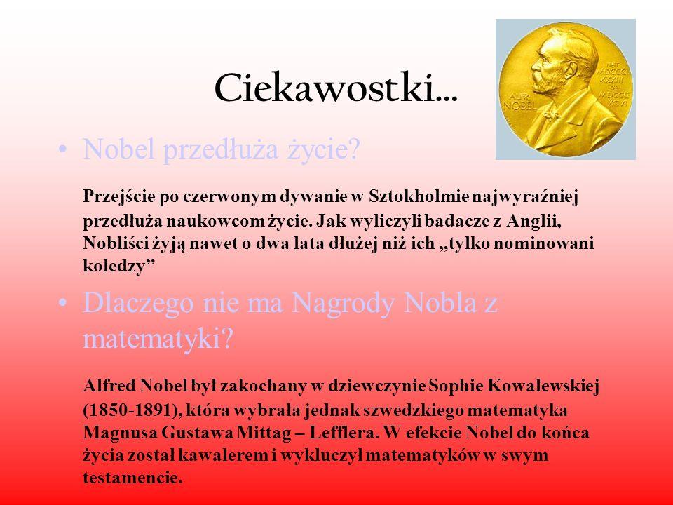 Nagroda Nobla Nagroda Nobla – prestiżowa nagroda ufundowana przez szwedzkiego przemysłowca i wynalazcę dynamitu Alfreda Nobla. Przyznawana jest od 190