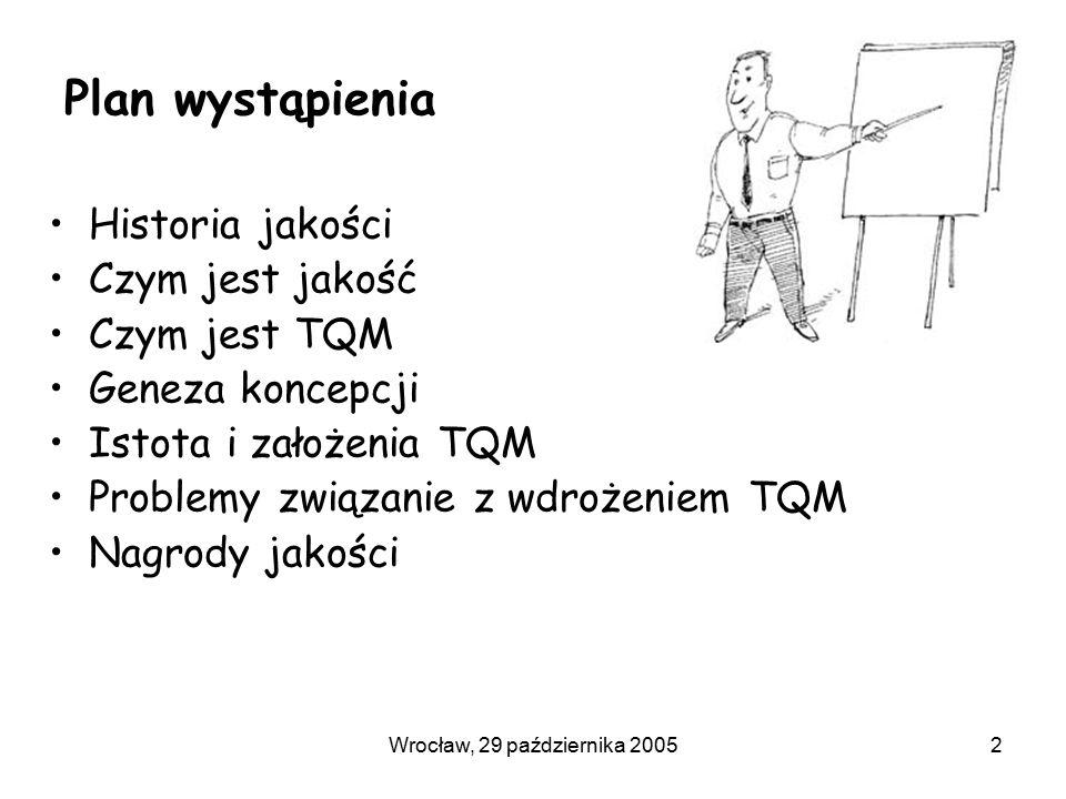 Wrocław, 29 października 20052 Plan wystąpienia Historia jakości Czym jest jakość Czym jest TQM Geneza koncepcji Istota i założenia TQM Problemy związanie z wdrożeniem TQM Nagrody jakości