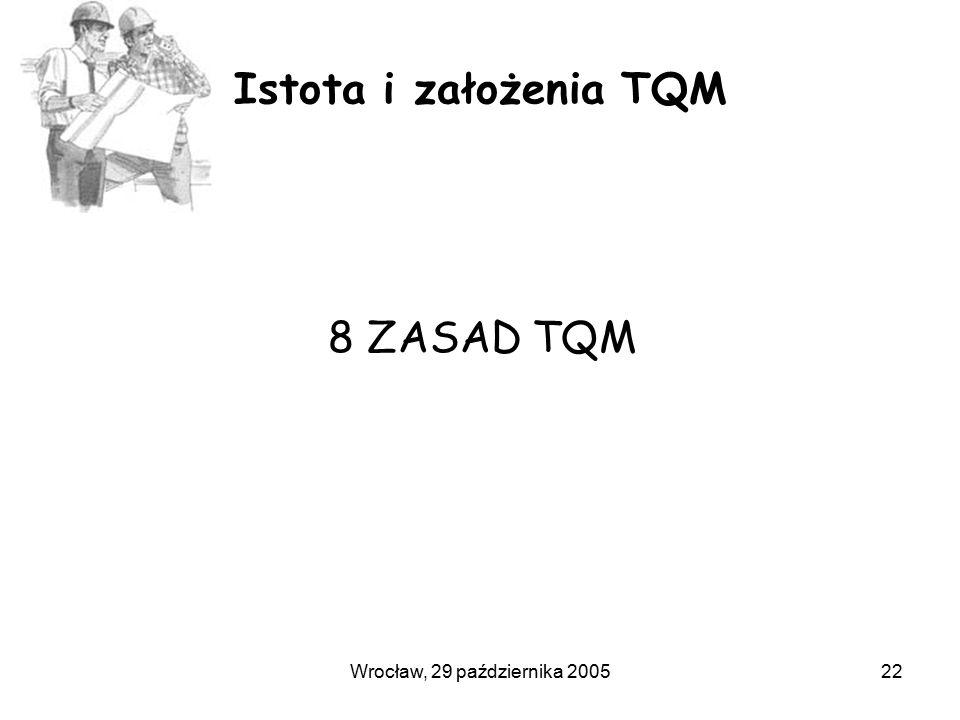 Wrocław, 29 października 200522 Istota i założenia TQM 8 ZASAD TQM