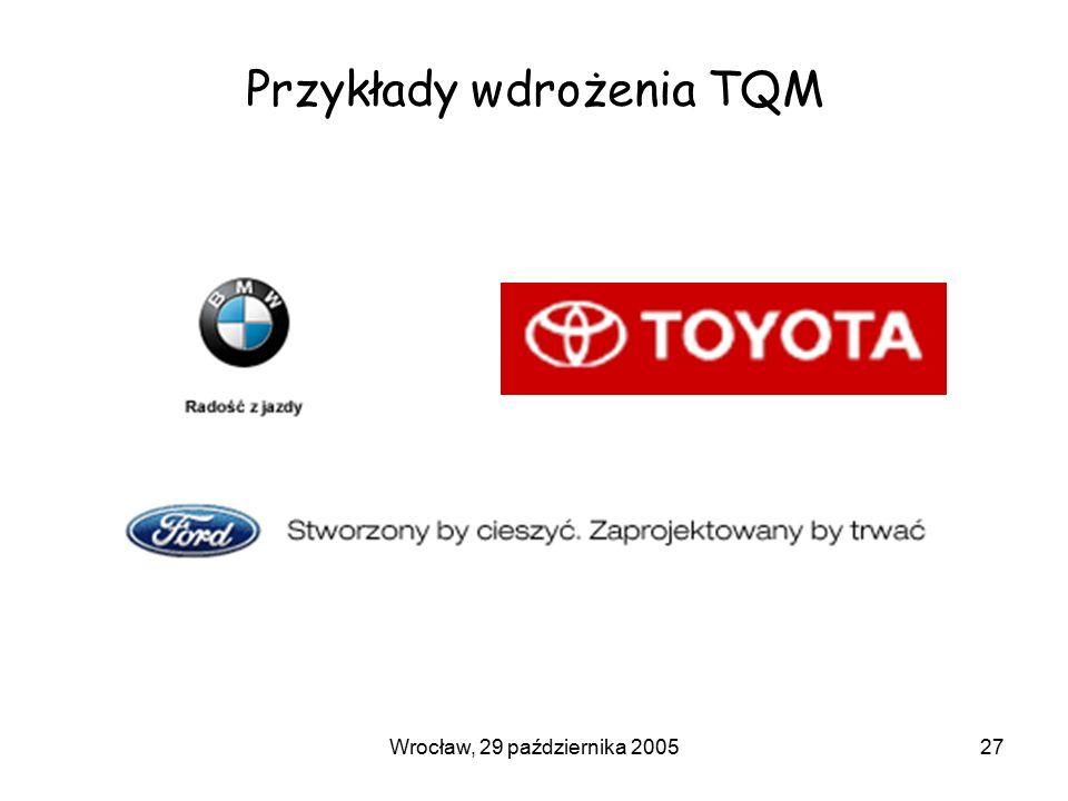 Wrocław, 29 października 200527 Przykłady wdrożenia TQM
