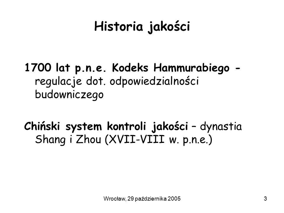 Wrocław, 29 października 20053 Historia jakości 1700 lat p.n.e. Kodeks Hammurabiego - regulacje dot. odpowiedzialności budowniczego Chiński system kon