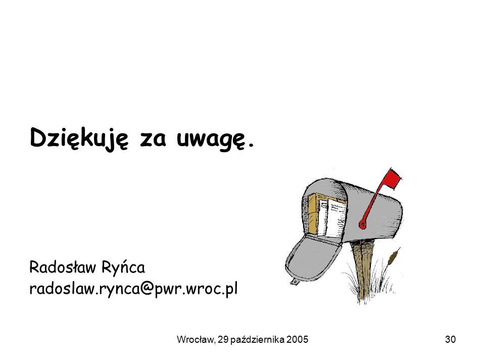 Wrocław, 29 października 200530 Dziękuję za uwagę. Radosław Ryńca radoslaw.rynca@pwr.wroc.pl