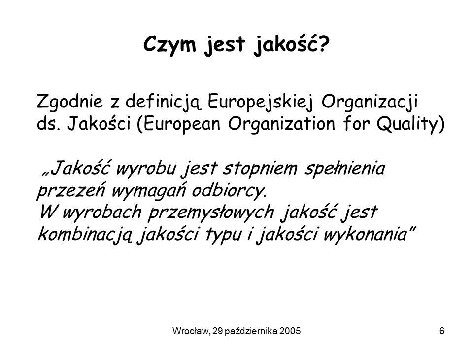 Wrocław, 29 października 20056 Czym jest jakość. Zgodnie z definicją Europejskiej Organizacji ds.