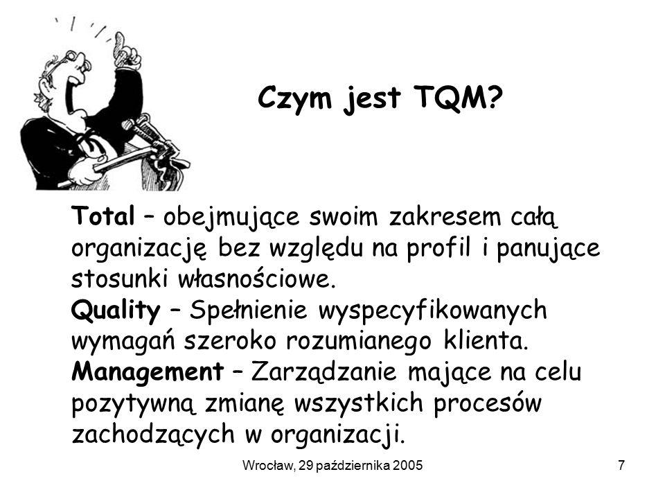 Wrocław, 29 października 20057 Czym jest TQM? Total – obejmujące swoim zakresem całą organizację bez względu na profil i panujące stosunki własnościow