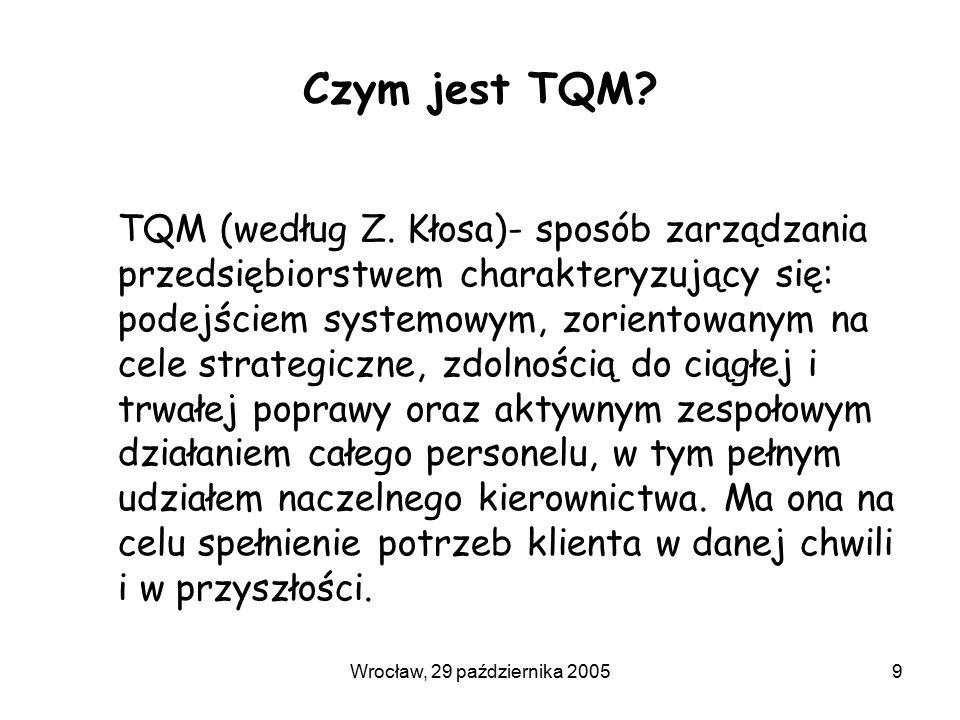 Wrocław, 29 października 20059 Czym jest TQM? TQM (według Z. Kłosa)- sposób zarządzania przedsiębiorstwem charakteryzujący się: podejściem systemowym,