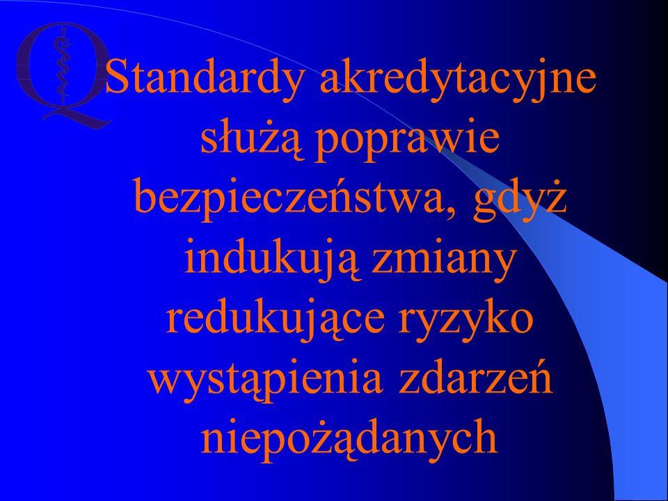 Standardy akredytacyjne służą poprawie bezpieczeństwa, gdyż indukują zmiany redukujące ryzyko wystąpienia zdarzeń niepożądanych