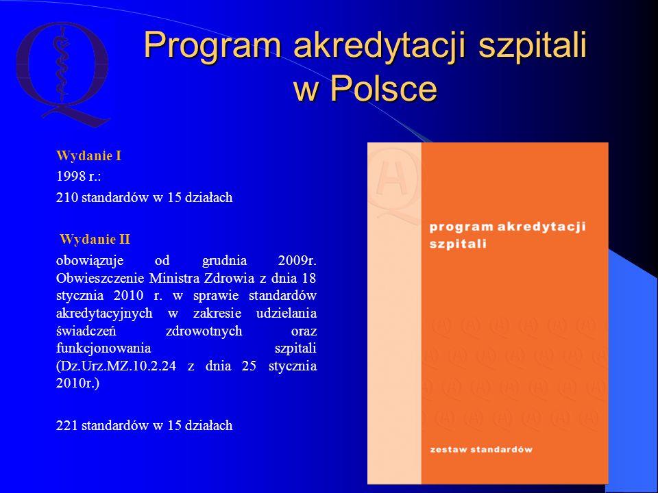 Program akredytacji szpitali w Polsce Wydanie I 1998 r.: 210 standardów w 15 działach Wydanie II obowiązuje od grudnia 2009r. Obwieszczenie Ministra Z