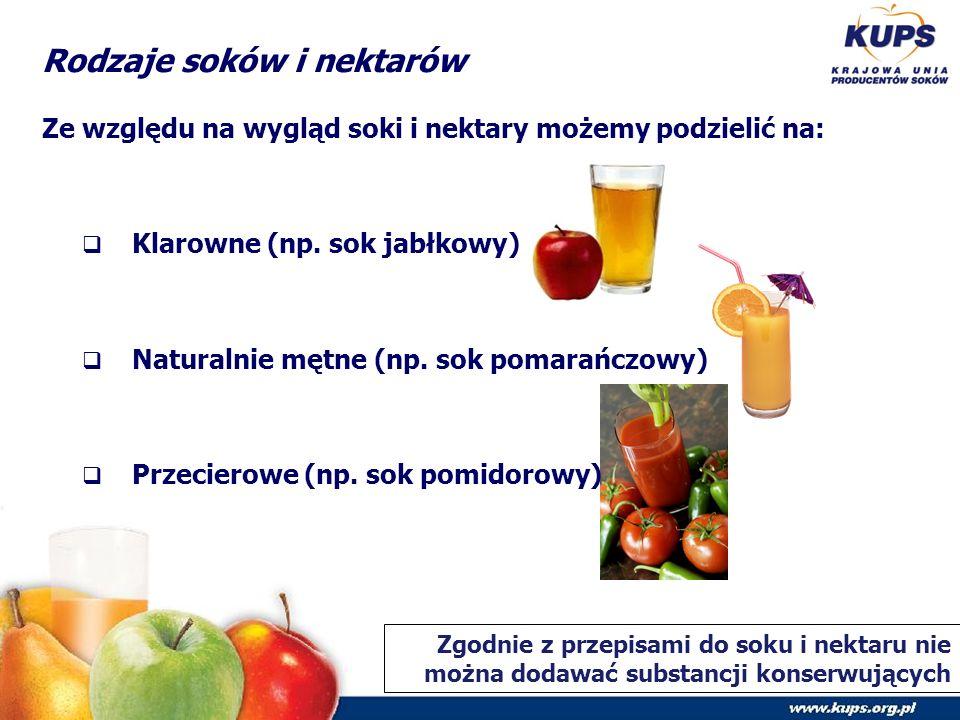 Rodzaje soków i nektarów Ze względu na wygląd soki i nektary możemy podzielić na:  Klarowne (np.