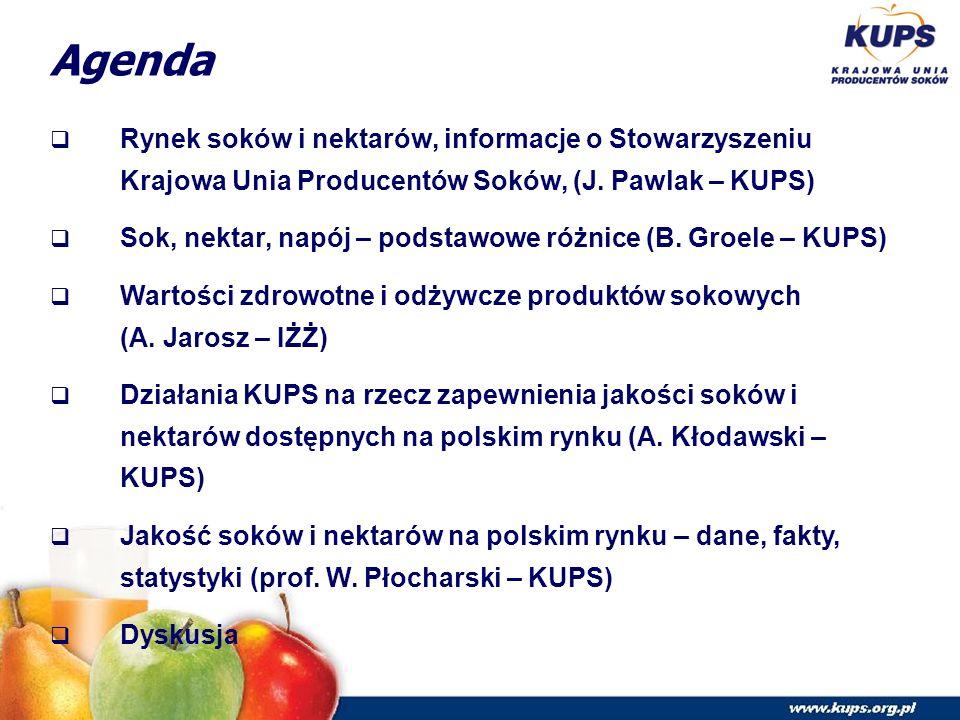 Agenda  Rynek soków i nektarów, informacje o Stowarzyszeniu Krajowa Unia Producentów Soków, (J.