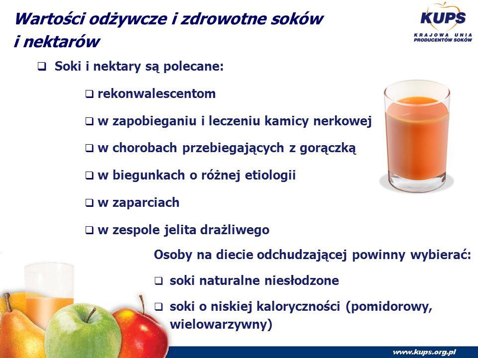 Wartości odżywcze i zdrowotne soków i nektarów  Soki i nektary są polecane:  rekonwalescentom  w zapobieganiu i leczeniu kamicy nerkowej  w chorobach przebiegających z gorączką  w biegunkach o różnej etiologii  w zaparciach  w zespole jelita drażliwego Osoby na diecie odchudzającej powinny wybierać:  soki naturalne niesłodzone  soki o niskiej kaloryczności (pomidorowy, wielowarzywny)
