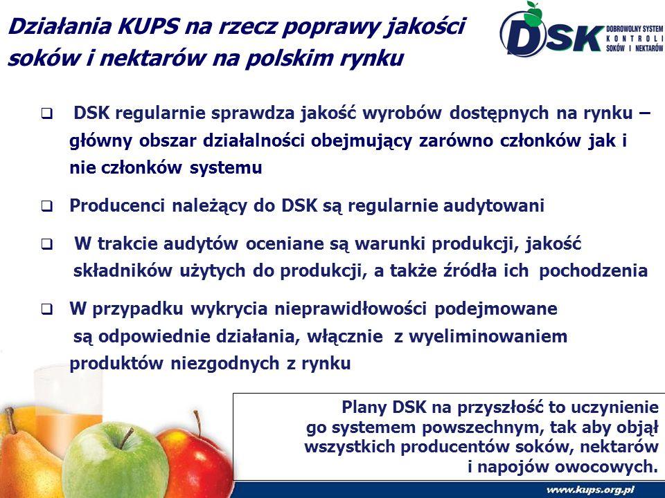 Działania KUPS na rzecz poprawy jakości soków i nektarów na polskim rynku  DSK regularnie sprawdza jakość wyrobów dostępnych na rynku – główny obszar działalności obejmujący zarówno członków jak i nie członków systemu  Producenci należący do DSK są regularnie audytowani  W trakcie audytów oceniane są warunki produkcji, jakość składników użytych do produkcji, a także źródła ich pochodzenia  W przypadku wykrycia nieprawidłowości podejmowane są odpowiednie działania, włącznie z wyeliminowaniem produktów niezgodnych z rynku Plany DSK na przyszłość to uczynienie go systemem powszechnym, tak aby objął wszystkich producentów soków, nektarów i napojów owocowych.