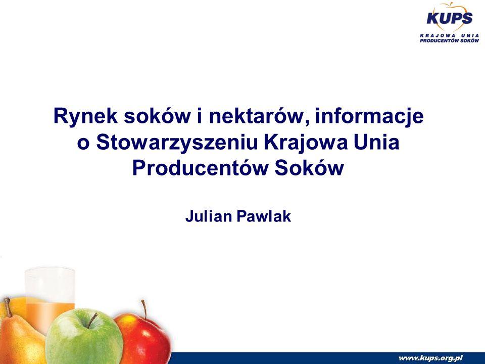 Rynek soków i nektarów, informacje o Stowarzyszeniu Krajowa Unia Producentów Soków Julian Pawlak