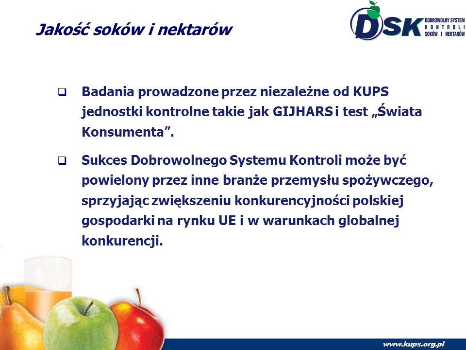 """Jakość soków i nektarów  Badania prowadzone przez niezależne od KUPS jednostki kontrolne takie jak GIJHARS i test """"Świata Konsumenta ."""