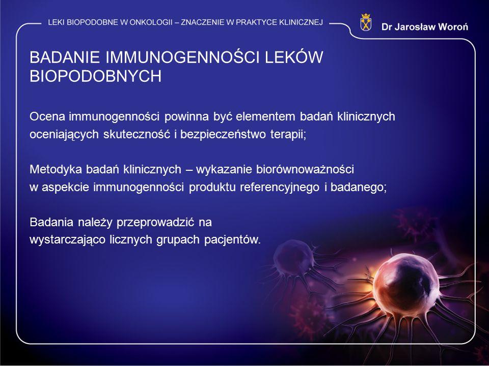 BADANIE IMMUNOGENNOŚCI LEKÓW BIOPODOBNYCH Ocena immunogenności powinna być elementem badań klinicznych oceniających skuteczność i bezpieczeństwo terapii; Metodyka badań klinicznych – wykazanie biorównoważności w aspekcie immunogenności produktu referencyjnego i badanego; Badania należy przeprowadzić na wystarczająco licznych grupach pacjentów.