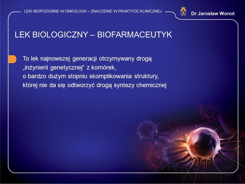 """LEK BIOLOGICZNY – BIOFARMACEUTYK To lek najnowszej generacji otrzymywany drogą """"inżynierii genetycznej"""" z komórek, o bardzo dużym stopniu skomplikowan"""