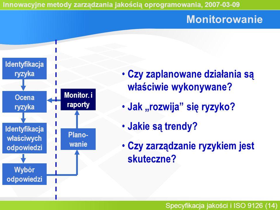 Innowacyjne metody zarządzania jakością oprogramowania, 2007-03-09 Specyfikacja jakości i ISO 9126 (14) Monitorowanie Identyfikacja ryzyka Identyfikacja właściwych odpowiedzi Ocena ryzyka Wybór odpowiedzi Plano- wanie Monitor.