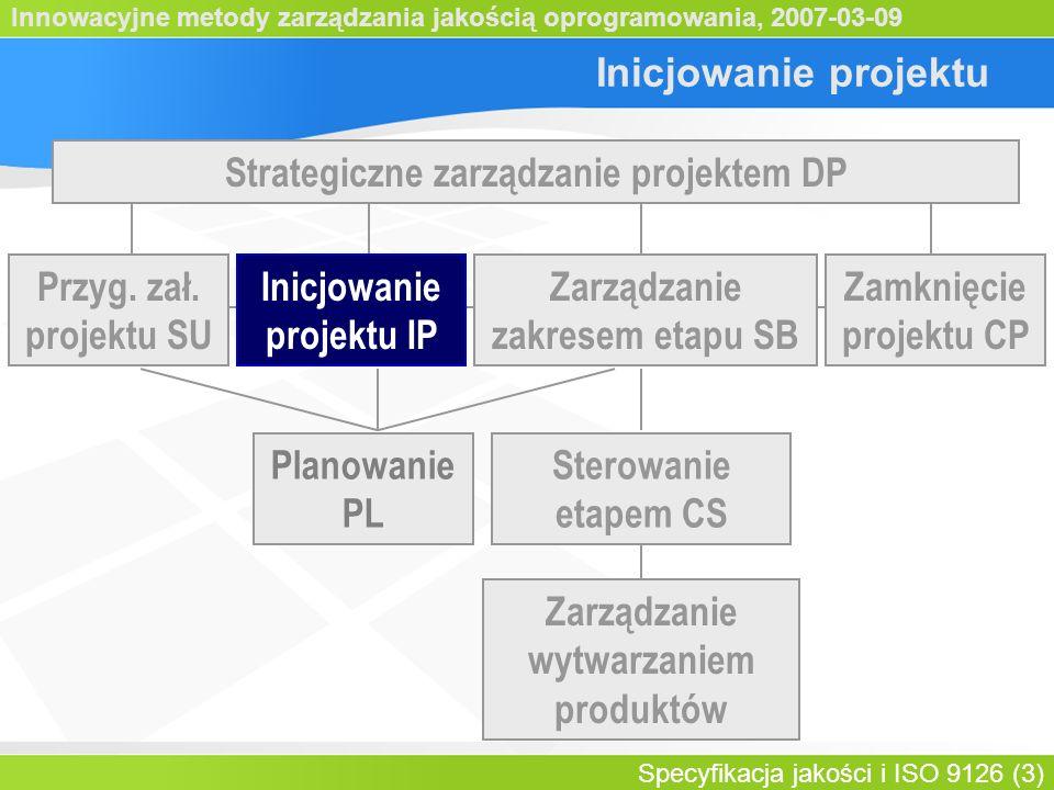 Innowacyjne metody zarządzania jakością oprogramowania, 2007-03-09 Specyfikacja jakości i ISO 9126 (3) Inicjowanie projektu Strategiczne zarządzanie projektem DP Sterowanie etapem CS Planowanie PL Zarządzanie wytwarzaniem produktów Inicjowanie projektu IP Zamknięcie projektu CP Zarządzanie zakresem etapu SB Przyg.