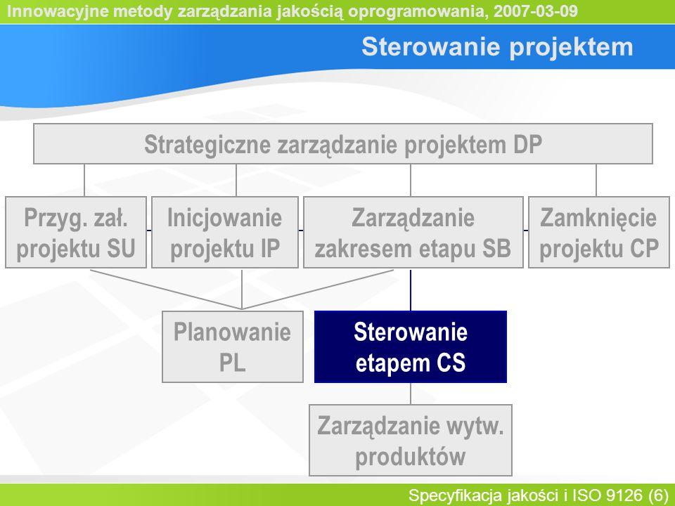 Innowacyjne metody zarządzania jakością oprogramowania, 2007-03-09 Specyfikacja jakości i ISO 9126 (7) Sterowanie etapem Autoryzacja pakietu prac Ocena postępów Rejestrowa- nie spraw projektu Analiza spraw projektu Przegląd Statusu etapu Raporty dla Komitetu Sterującego Podejmow.