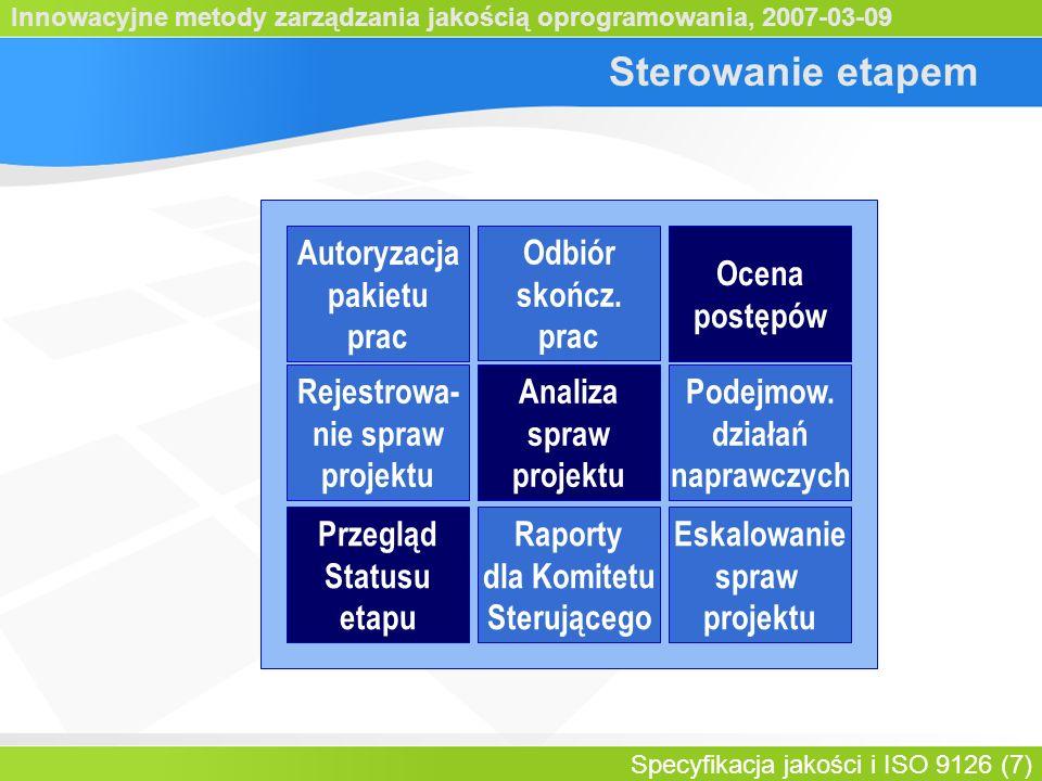 Innowacyjne metody zarządzania jakością oprogramowania, 2007-03-09 Specyfikacja jakości i ISO 9126 (7) Sterowanie etapem Autoryzacja pakietu prac Ocen